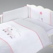 Pościel 3-el drukowana Albero Mio by Klupś - Choo Choo K087 szaro-różowa