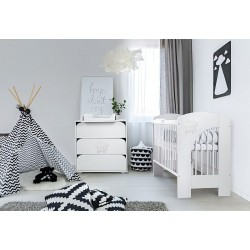 Zestaw mebli Klupś Nel - łóżko 120x60 cm - Chmurka białe