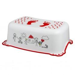 Podnóżek podest z gumkami antypoślizgowymi Maltex Rodzinka 5948 - biało-czerwony