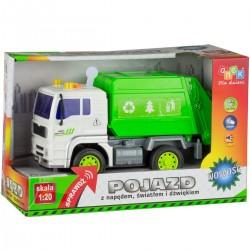 Pojazd z napędem, światłem i dźwiękiem od 36m+ Anek WY520A śmieciarka - biało-zielona