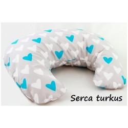Poduszka do karmienia Infantilo Rogal mały wypełnienie silikon - Serca turkus