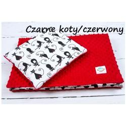 Komplet do wózka Minky Infantilo - Czarne Koty + czerwony