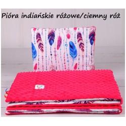 Komplet do wózka Minky Infantilo - Pióra Indiańskie różowe + ciemny róż