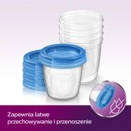 Pojemniki Avent do przechowywania pokarmu 180 ml SCF619/05 - 5 sztuk