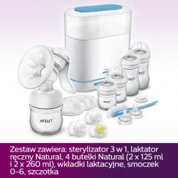 Zestaw startowy z laktatorem i sterylizatorem Avent Natural SCD293/00