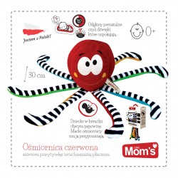 Ośmiornica z odgłosami prenatalnymi czerwona od 0m+ 34 cm Mom's Hencz 965