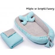 Gniazdko kokon Minky z poduszką motylkiem i kocykiem Infantilo - K6 Mięta w kropki/szary