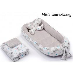 Gniazdko kokon Minky z poduszką motylkiem i kocykiem Infantilo - K7 Misie szare/szary