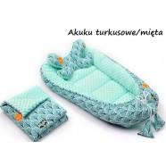Gniazdko kokon Minky z poduszką motylkiem i kocykiem Infantilo - K11 Akuku turkusowe/mięta
