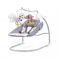 Huśtawka leżaczek bujaczek 2w1 KINDERKRAFT Minky 0-9 kg - Grey/Pink