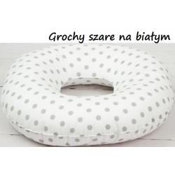 Poduszka poporodowa koło połogowe INFANTILO - grochy szare na białym