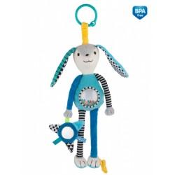 Zabawka pluszowa z grzechotką i lusterkiem Canpol 68/061 DŁUGIE USZY - niebieska