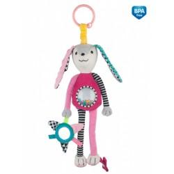 Zabawka pluszowa z grzechotką i lusterkiem Canpol 68/061 DŁUGIE USZY - różowa