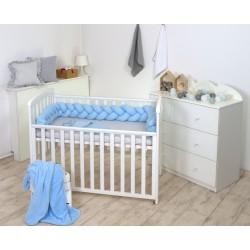 Warkocz-ochraniacz do łóżeczka  210 cm AMY jersey - błękitny