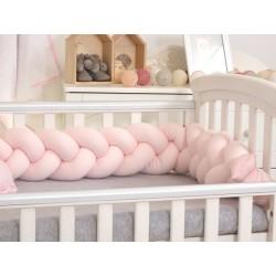 Warkocz-ochraniacz do łóżeczka 210 cm AMY jersey - różowy