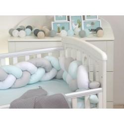 Warkocz-ochraniacz do łóżeczka 210 cm AMY - biało-szary-mięta U8_U11_U13
