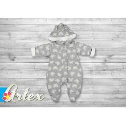 Kombinezon niemowlęcy ocieplany jesienno-wiosenny 56-62 cm ARTEX - szary z motylkami