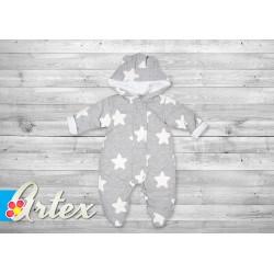 Kombinezon niemowlęcy ocieplany jesienno-wiosenny 56-62 cm ARTEX - szary z białymi gwiazdami