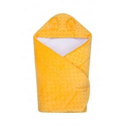 Becik rożek z kapturkiem Minky DuetBaby 631 - żółty