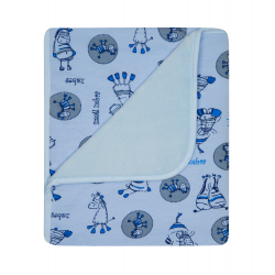 Kocyk podwójny druk bawełna + termofrota 75x90 cm DuetBaby 073 - niebieski