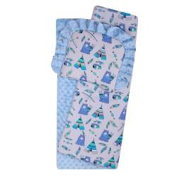 Komplet do wózka Minky DuetBaby 634 - niebieski + namioty