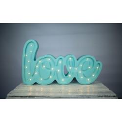 Lampa Lights My Love - Napis Love miętowy