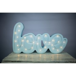 Lampa Lights My Love - Napis Love jasnoniebieski