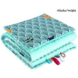 Kocyk Minky 75x100 cm + poduszka 35x30 cm Infantilo - Akuku - mięta