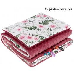 Kocyk Minky 75x100 cm + poduszka 35x30 cm Infantilo - In Garden - Retro róż