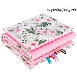 Kocyk Minky 75x100 cm + poduszka 35x30 cm Infantilo - In Garden - Jasny róż