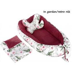 Gniazdko kokon Minky z poduszką motylkiem i kocykiem Infantilo - K2 - In Garden - Retro róż