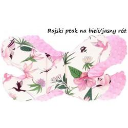 Poduszka antywstrząsowa Motylek Infantilo - Rajski ptak na bieli/jasny róż