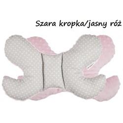 Poduszka antywstrząsowa Motylek Infantilo - Szara kropka/jasny róż