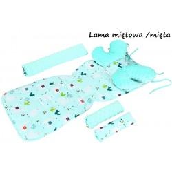 Wkładka do wózka Minky z poduszką Motylek Infantilo - Lama miętowa/mięta