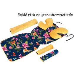 Wkładka do wózka Minky z poduszką Motylek Infantilo - Rajski ptak na granacie/musztarda