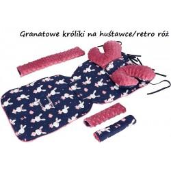 Wkładka do wózka Minky z poduszką Motylek Infantilo - Granatowe króliki na huśtawce/retro róż
