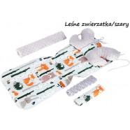 Wkładka do wózka Minky z poduszką Motylek Infantilo - Leśne zwierzątka/szary