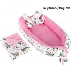 Gniazdko kokon Minky z poduszką motylkiem i kocykiem Infantilo - K1 - In Garden - Jasny róż
