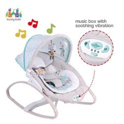 Leżaczek z budką, muzyką i wibracjami dla dzieci od 0 do 18 kg Konig Kids