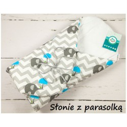 Becik rożek bawełniany miękki 75x75 cm Infantilo - Słonie z parasolką