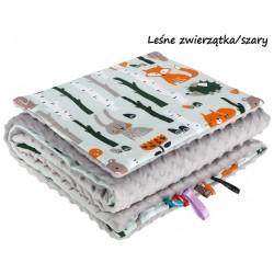 Kocyk Minky 75x100 cm + poduszka 35x30 cm Infantilo - Leśne Zwierzątka+biały