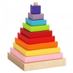 Zabawka drewniana od 18m+ CUBIKA - Piramidka Drewniana