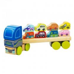 Zabawka drewniana od 18m+ CUBIKA - Ciężarówka Sorter z Samochodami