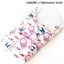 Becik rożek bawełniany miękki 75x75 cm Infantilo - Jaskółka z łapaczami snów