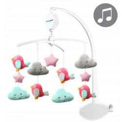 Karuzelka do łóżeczka z pozytywką BabyOno 626 Clouds & Birds - pink
