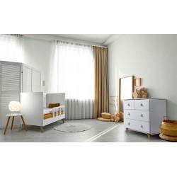 Zestaw mebli Klupś - łóżko 120x60 cm + komoda - Noah białe