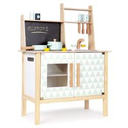 Drewniana kuchnia z tablicą dla dzieci od 36m+ Ecotoys CA12092