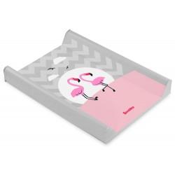Przewijak nadstawka krótka twarda 50x70 cm Sensillo Lovely Friends - Flamingi szary