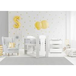 Zestaw mebli Klupś - łóżko 120x60 cm + komoda - Nati biały-popiel