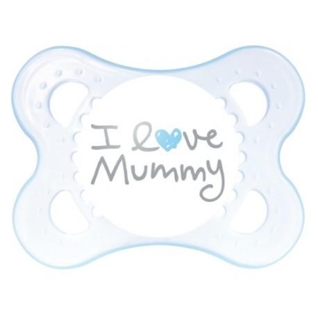 Smoczek 2-6m MAM Love & Affection I Love Mummy blue